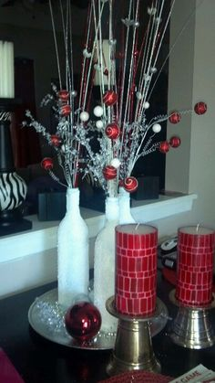 Wine bottles. Cute idea. You can coordinate the colors with what ever holiday.
