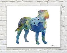 Bullmastiff reproduction d'Art  peinture par 1GalleryAbove sur Etsy