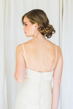 Lilliane Back Drape Necklace | Pearl and Handmade Lace Bridal Necklace by Edera: http://ederajewelry.com | Photography: http://ashleylargesse.com | Veil: http://www.etsy.com/shop/CeciMillinery | Gown: http://celia-grace.com | Makeup: http://jenniferperellie.com | Hair: http://finishingtouchvt.com | Location: http://allsoulsinterfaith.org
