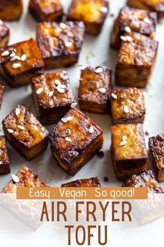 This Air Fryer Tofu comes together with just 5 simple ingredients! It's deliciously crispy and so versatile for whatever dish you're serving it with. Best Tofu Recipes, Air Fryer Recipes Vegan, Vegan Vegetarian, Vegetarian Recipes, Vegan Meals, Tasty, Yummy Food, Plant Based Recipes, A Food