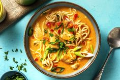 Fragrant Chicken Laksa - Cook Now! Recipe | HelloFresh Chicken Soup Recipes, Noodle Recipes, Chicken Laksa, Laksa Soup, Laksa Recipe, Hello Fresh Recipes, National Dish, Diced Chicken, Rabbit Food