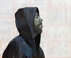 """Reverie"" format 61x50cm technika mix-media (akryl, gazeta, akwarela, żywica)"
