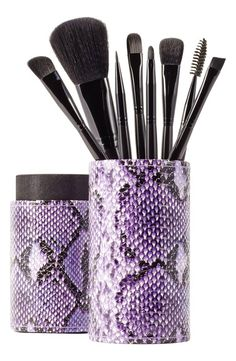 8 essential makeup brushes in a python print holder (under 30 dollars)