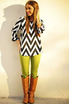 chevron with green skinnies. Love!
