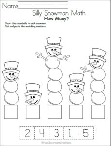 Silly Snowman Math Numbers Worksheet - Madebyteachers Free winter math worksheet for number recognition practice. Count the snowballs in each snowman, then cut and paste the number that matches. Find more winter math worksheets for Kindergarten an Numbers Preschool, Math Numbers, Preschool Learning, Teaching, Writing Numbers, Student Learning, Free Math Worksheets, Kindergarten Math Worksheets, Preschool Activities
