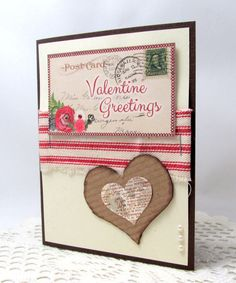 Valentine Greetings  Vintage Valentine's Day by PrettyByrdDesigns