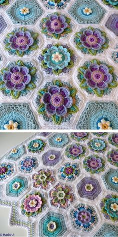It's great how one pattern can be made in a lot of different ways! Another colour can make a blanket completely change its character! Crochet Bedspread Pattern, Crochet Cushions, Crochet Blocks, Granny Square Crochet Pattern, Crochet Flower Patterns, Afghan Crochet Patterns, Crochet Squares, Crochet Motif, Crochet Designs