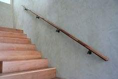 Modern Wall Mounted Handrails For Stairs On Top Of Wall Mounted Handrail Wood Railings For Stairs, Interior Stair Railing, Modern Stair Railing, Wood Handrail, Wall Railing, Staircase Handrail, Rustic Stairs, Stair Railing Design, Stair Decor
