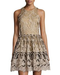Lace Fit-and-Flare Racerback Dress, Black/Beige by Romeo & Juliet Couture at Neiman Marcus Last Call.