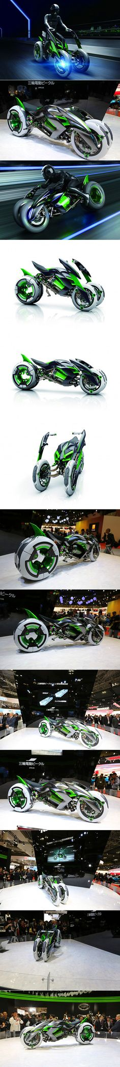 """Kawasaki threw another fascinating oddity into the ring at the Tokyo Motor Show today with the unveiling of the outlandish, shape-shifting """"J"""" 3-wheel electric vehicle concept."""
