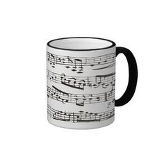 Black and white musical notes mug