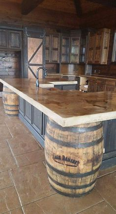 Cast in place whiskey colored concrete countertops in a Stone-Crete Artistry, Whiskey Kitchen, Jack Daniels barrels Outdoor Kitchen Design, Kitchen Rustic, Mens Kitchen, Rustic Outdoor Kitchens, Rustic Outdoor Bar, Rustic Bars, Country Kitchen Island, Outdoor Kitchen Plans, Western Kitchen