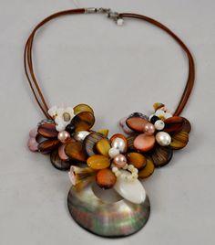 Handmade shell flower Necklace Colors Of Etnika Tulsa, Oklahoma