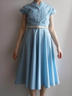 Vintage Powder Blue 1950s-1960s Dress with Over-Blouse And Belt UK Size 8 in Clothes, Shoes & Accessories, Vintage Clothing & Accessories, Women's Vintage Clothing | eBay