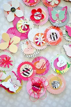 use scraps and punches to make colorful layered embellies for future use :)