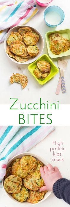 Zucchini bites (courgette bites) are a high protein snack or lunch- great for kids.