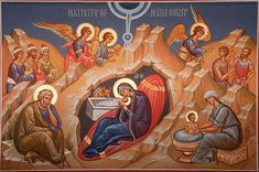 Feast of the Nativity of Christ – Orthodox in the District St Joseph, Pagan Festivals, Birth Of Jesus Christ, Archangel Gabriel, Orthodox Icons, Kirchen, Christianity, Painting, Worship Images