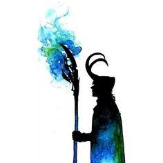 Loki ~Silhouette LOKI Tom Hiddleston ❤ liked on Polyvore featuring avengers