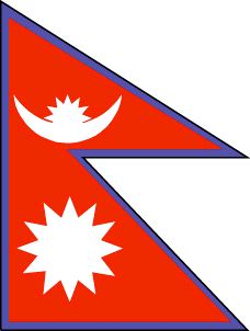 The Nepal flag was officially adopted on December 16, 1962, and it's the only national flag that's not a rectangle or square.           The blue border symbolizes peace, while red is the color of the rhododendron, Nepal's official flower. The crescent moon is said to represent the royal house, while the sun represents the Rana family.