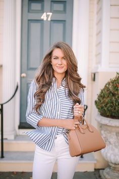 Southern Curls & Pearls: Striped Bow Back Top