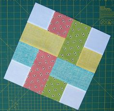 A ribbon look in patchwork. diaryofaquilter com patchwork Bilderesultat for Easy Square Quilt Block Patterns very simple quilt block made of squares and rectangles. How about a plaid quilt? woven square quilt block For 12 inch finished block: Four white s Jellyroll Quilts, Patchwork Quilting, Scrappy Quilts, Quilting Tips, Quilting Tutorials, Quilting Projects, Quilting Designs, Sewing Projects, Quilting For Beginners