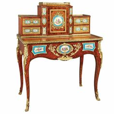 Belle Epoque: 19th & 20th Century Decorative Arts Transitional Louis XV/XVI Style Gilt-Bronze and Sevres Style Porcelain Mounted Walnut and Kingwood Bonheur du Jou.r