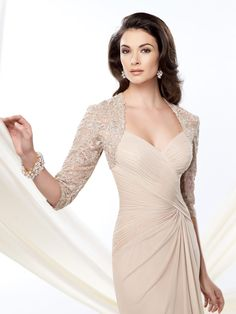 2014 New Elegant Chiffon Long Mother of the Bride Dresses With Jacket 3/4 Lace Sleeve Sweetheart Ruffles Sweep Train