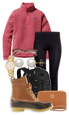 """Tripped over summer and fell straight into autumn."" by ndebaby ❤ liked on Polyvore featuring Patagonia, H&M, The North Face, Tory Burch, L.L.Bean, Honora and Kate Spade"
