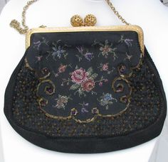 small evening bag with petit point and seed beads