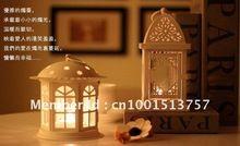 White color Weddings lantern Iron Candle Holder Wedding gift house or shop decoration Artcraft House shape Metal Lantern(China (Mainland))