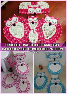 DIY Crochet Owl Toilet Tank Seat Cover Set Free Pattern-Video