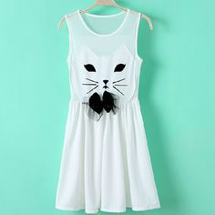 Gauze Dress Stitching Cute Cat JCIC 16e227bad22cb