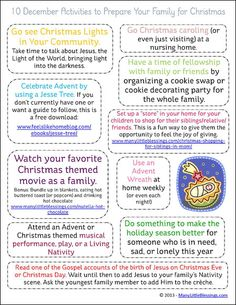 10 Activities to Get Your Family Ready for Christmas printable | ManyLittleBlessings.com