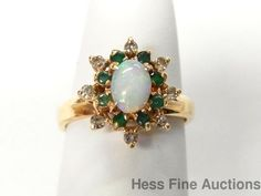 Vintage 14k Gold Fine Natural Australian Opal Emerald Diamond Ring Size 6.75 #FashionRightHand