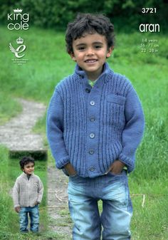Cardigans and Sweaters in King Cole Aran - 3721 - Boys - For - Patterns