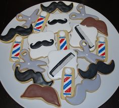 Barber Shop / Mustache Sugar Cookies by SugarMamabyKim on Etsy, $33.00