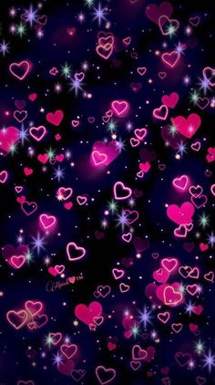 Neon hearts wallpaper – Cool Backgrounds