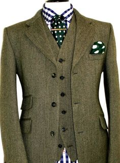 BNWT-MENS-BROOK-TAVERNER-KEEPERS-TWEED-SHOOTING-HUNTING-3-PIECE-SUIT-40R-W34