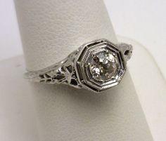 vintage 18k diamond engagement ring benchmarkgembrokers.com