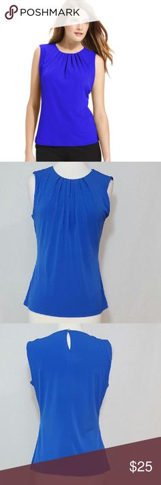 "Calvin Klein Blue Sleeveless Pleated-neck Blouse Gently used in great condition. Such a simple, pretty blouse by Calvin Klein. Pleated details in the front. Size Small. Great to wear for work or going out.   MEASUREMENTS (laying flat) Armpit to armpit: 17.5"" Armpit to bottom: 15""   MATERIAL Shell: 95% Polyester & 5% Spandex   🌺I offer bundle discount  📍NO TRADING 📍NO PPal  ***Please tag me @hila808 if you have any questions. Mahalo for stopping by my closet. Calvin Klein Tops Blouses"