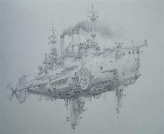 Air battleship by Vadim Voitekhovitch ( *voitv on deviantART ) voitv.deviantart.com/ | Wonderful steampunk art!