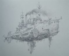 Air battleship by Vadim Voitekhovitch ( *voitv on deviantART ) voitv.deviantart.com/ | Wonderful steampunk art!