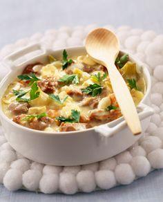 Blanquette de Veau - 1 kg de blanquette de veau - 1 cube de bouillon de poulet - 1 cube de bouillon de légume - 2 ou 3 carottes - 1 gros oignon - 1 petite boîte de champignons (coupés) - 1 petit pot de crème fraîche - du jus de citron - 1 jaune d'oeuf - farine - 25 cl de vin blanc