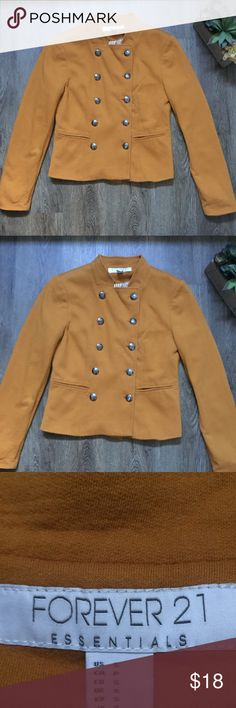 Forever 21 Essentials Yellow Button Jacket Size S Super cute Button Jacket from Forever 21 Essentials. It is a pretty mustard yellow color  Size Small. I also have this same jacket for sale in my closet in Black. Forever 21 Jackets & Coats