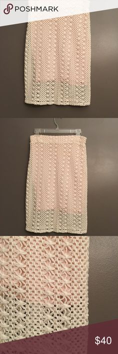 Free People Lace Skirt, Like New - Size 8 This Free People lace skirt is gorgeous! With an underlay made of 65% Polyester and 35% Cotton, it feels like a soft T-shirt. The underneath fits like a bodycon mini skirt. The overlay is 100% Rayon and comes to above the knee. The underlay is a light pink, with off white lace as the overlay  This was a wishful buy, but I was never able to get my hips into it. The tags are no longer attached, but this skirt is brand new, never worn. Free People…