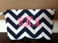 Monogramed Navy Chevron with Neon Pink Make by Mimimadeitdesigns, $25.00