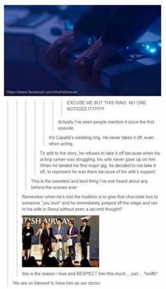 """The reason Peter Capaldi wears his wedding ring as the Doctor. """"he refuses to take it off because when his acting career was struggling, his wife never. 12th Doctor, Twelfth Doctor, Fandoms, Don't Blink, Blue Box, Time Lords, My Tumblr, Dr Who, Look At You"""