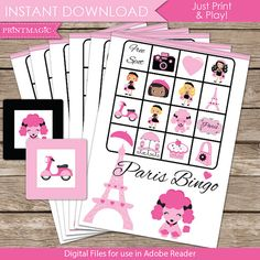 Paris Bingo Printable Party Game Paris Birthday by printmagic
