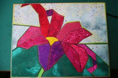 Wood panel with fabric fusion lily & background, wood burning outline