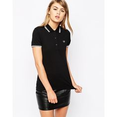 Fred Perry Twin Tip Polo Shirt ($85) ❤ liked on Polyvore featuring tops, black, fred perry, black top, polo shirts and black polo shirt